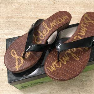 Sam Edelman Tanya Black Patent Sandals